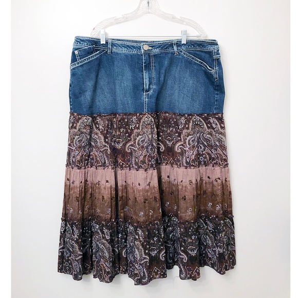 Faded Glory Dresses & Skirts - Denim & Cotton Paisley Skirt 22W